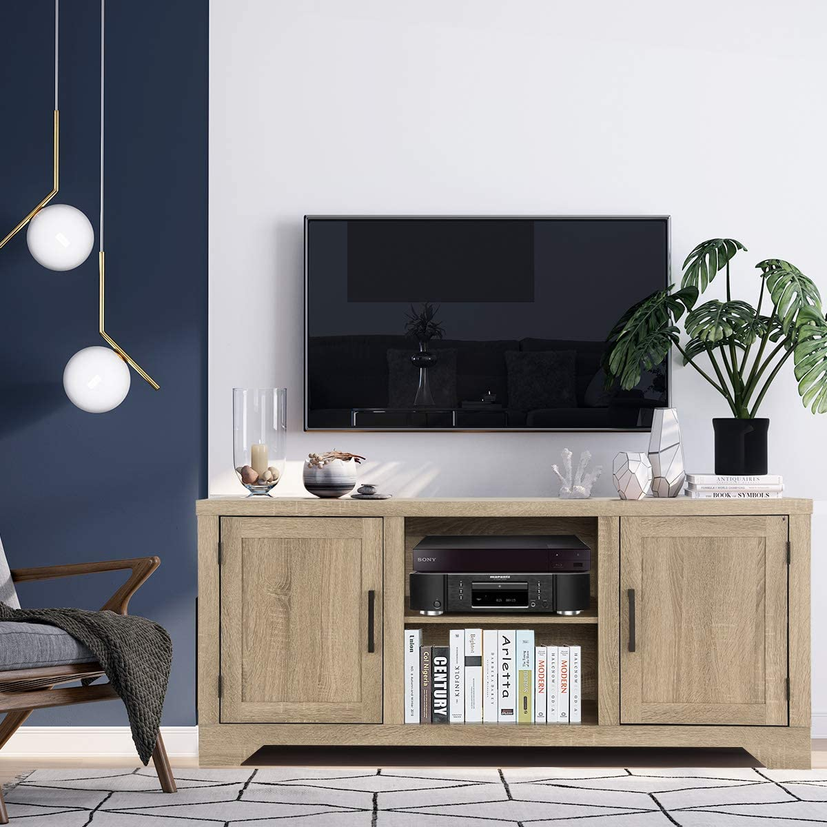 Tangkula Farmhouse Barn Wood TV Stand for TVs up to 65 Inches, Universal TV Storage Cabinet with Doors and Shelves, Ideal for Home Living Room, Natural Design