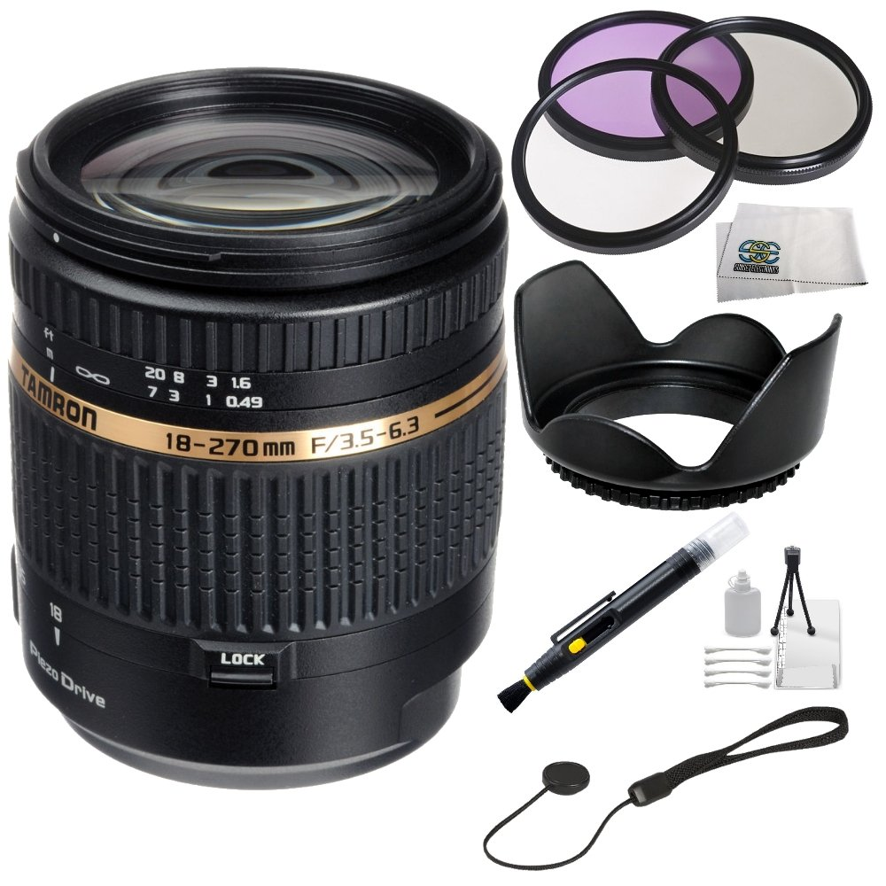 Tamron AF 18-270mm f/3.5-6.3 Di II VC PZD LD Aspherical IF Macro Zoom Lens for Canon DSLR Cameras + SSE ''Lens Care'' Kit: Includes - 3 Piece Professional Filter Kit (UV,CPL,FLD) Lens Pen, Tulip Lens Hood, Lens Cap Keeper & SSE Microfiber Cleaning Cloth by Tamron