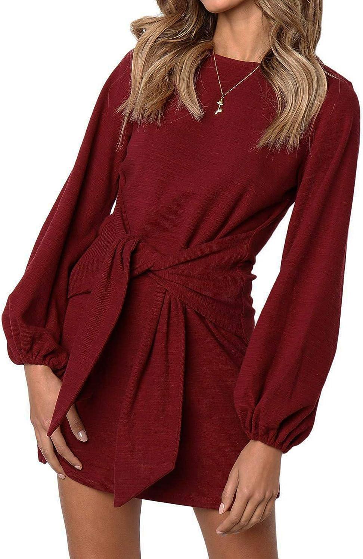 modase Women Long Sleeves Elegant Knitted Bodycon Tie Waist Sweater Pencil Dress