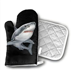 Shark Printed Oven Mitts and Potholders (2-Piece Sets) - Kitchen Set with Cotton Heat Resistant,Oven Gloves for BBQ Cooking Baking Grilling