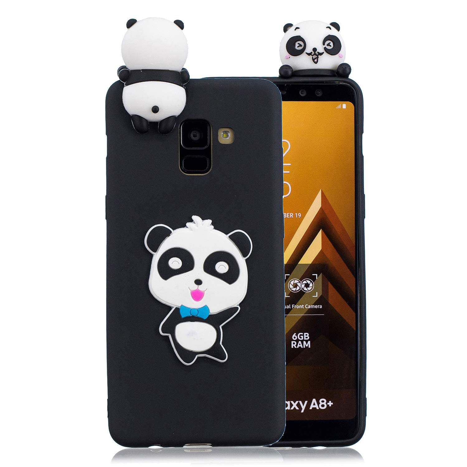 for Samsung Galaxy A8 2018 Silicone Case with Screen Protector,QFFUN 3D Cartoon [Panda] Pattern Design Soft Flexible Slim Fit Gel Rubber Cover,Shockproof Anti-Scratch Protective Case Bumper by QFFUN (Image #1)