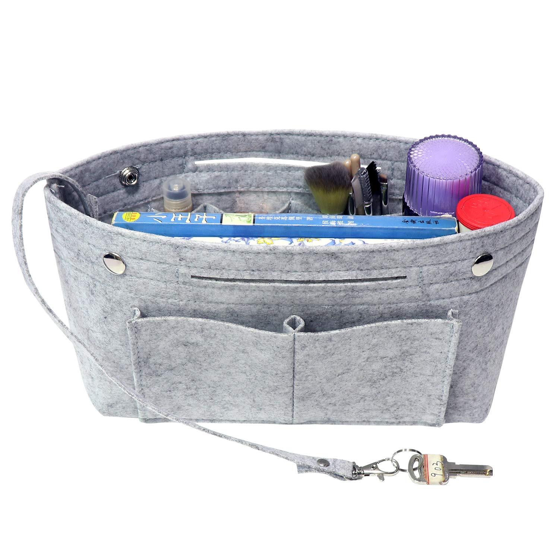 MISIXILE Felt Purse Organizer Insert Handbag Organizer,Tote Bag in Bag Organizer Fits Speedy Neverfull with Handles Keychain-Beige,s
