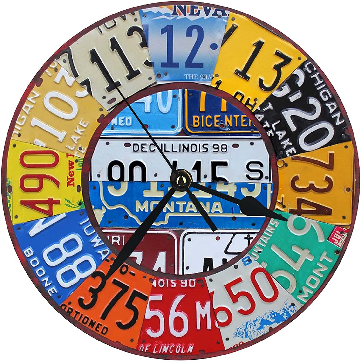 License Plate Wall Clock 12 Inch Vintage Decor Battery Operated Decorations for Kitchen,Living Room,Farmhouse,Office