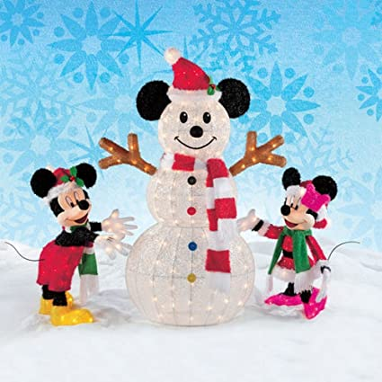 Disney Christmas Decorations Mickey Minnie Mouse With Snowman
