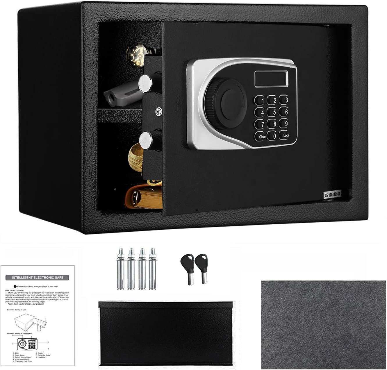Safe Box, Safe and Lock Box,0.57 Cubic Feet Electronic Security Digital Safe, Home Safe for Storing Jewelry Passports Cash Use Storage with Keys and Tools 13.7'' x 9.8'' x 9.8''