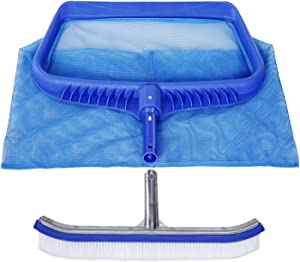 Pool Skimmer Net and Brush,Pool Cleaning Tool Fine Mesh Pool Net and Pool Wall Brush for Cleaning Swimming Pools