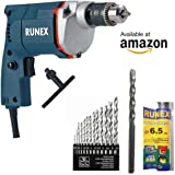 ISC / Runex Electric Simple Drill Machine + 1 Masonary Bit + 13 Hss Bit Set Combo