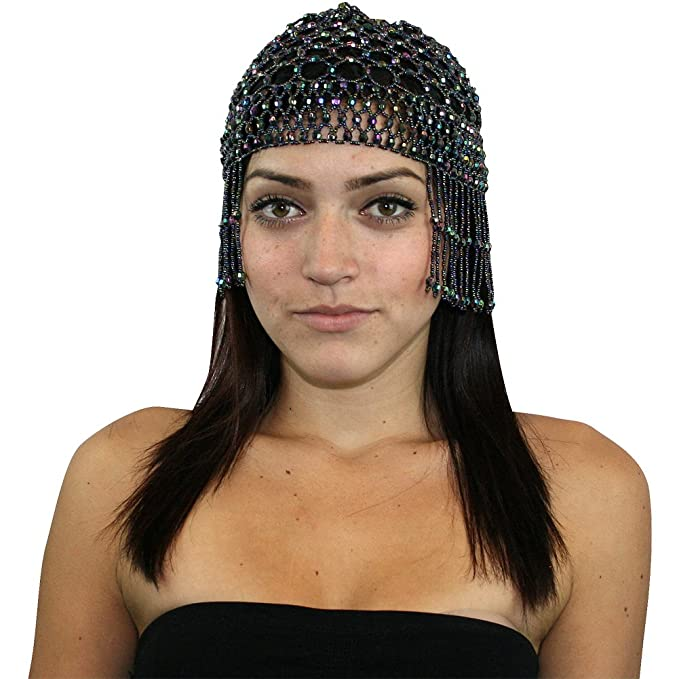 7881a50921a AB Black Womens Exotic Cleopatra Beaded Belly Dance Head Cap Halloween  Costume