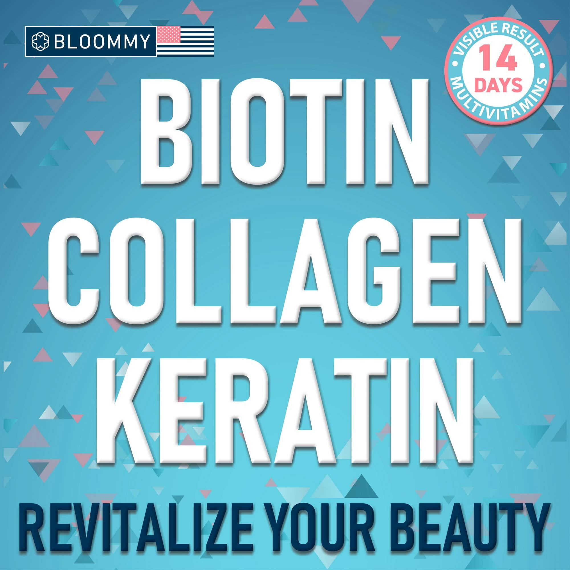 Biotin, Keratin & Collagen Gummies - Made in USA - Extra Strength Biotin 5000 mcg - Healthy Look - Rich in Keratin & Collagen - Premium Treatment - 100% Natural, Tasty & Super Efficient, 60 Count