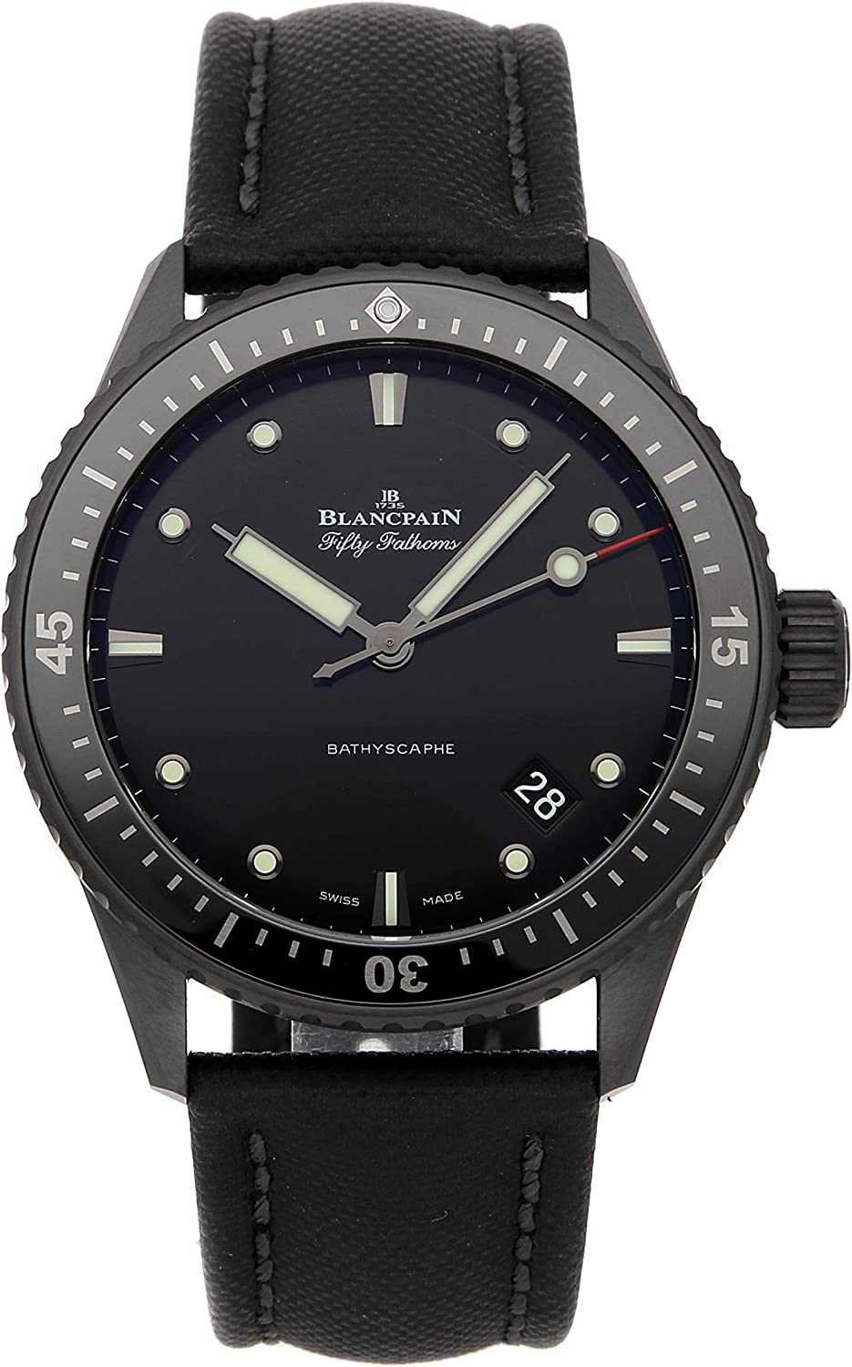 B086PWCPSD Blancpain Fifty Fathoms Mechanical (Automatic) Black Dial Mens Watch 5000-0130-B52A (Certified Pre-Owned) 71DQ2BvJmTCL.UL1500_