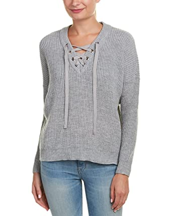 Jack by BB Dakota Women s Willard Marled Sweater with Lace-Up Detail Light  Heather Grey 9e5a19f5b