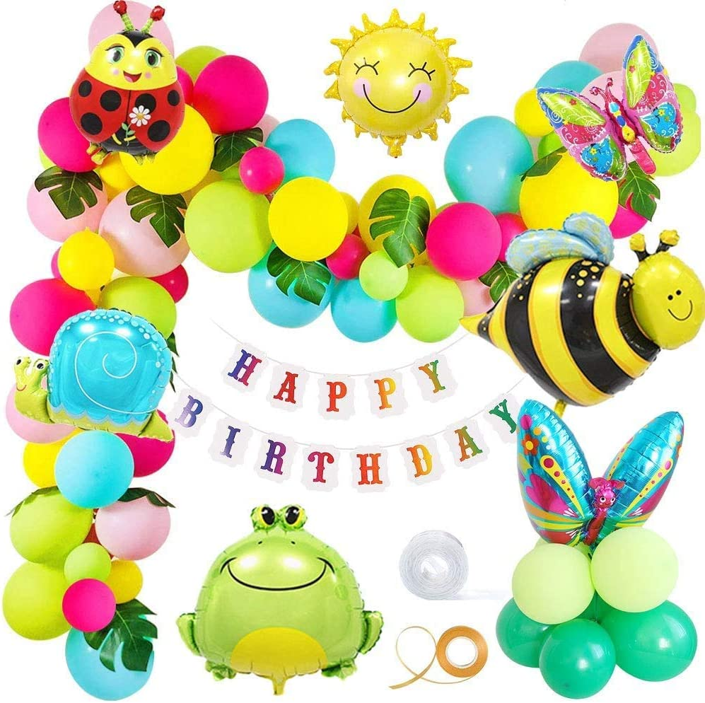 Vston Insect Birthday Party Decoration Garden Colorful Balloons Insect Butterfly Bee Frog Snails Sun Animal Balloon Happy Birthday Banner Palm Leaves for Home Garden