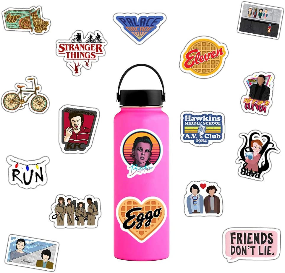 Laptop and Water Bottle Decal Waterproof Vinyl Stickers for Teens Women Skateboard Motorcycle Bicycle Mobile Phone Luggage Guitar DIY Decal Girls Stranger Things Stickers Pack 75 Pcs