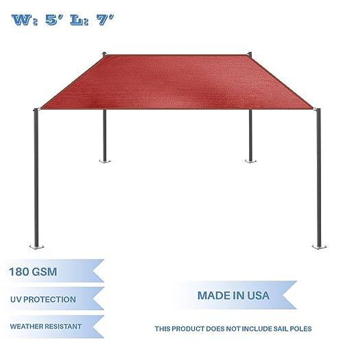 E K Sunrise 5 x 7 Red Rectangle Sun Shade Sail Outdoor Shade Cloth UV Block Fabric,Straight Edge-Customized