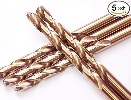 "3//8/""x5/"" Cobalt Drill Bits Set HSS M35 Jobber Length Metal Drill Bit Tools 5 Pack"