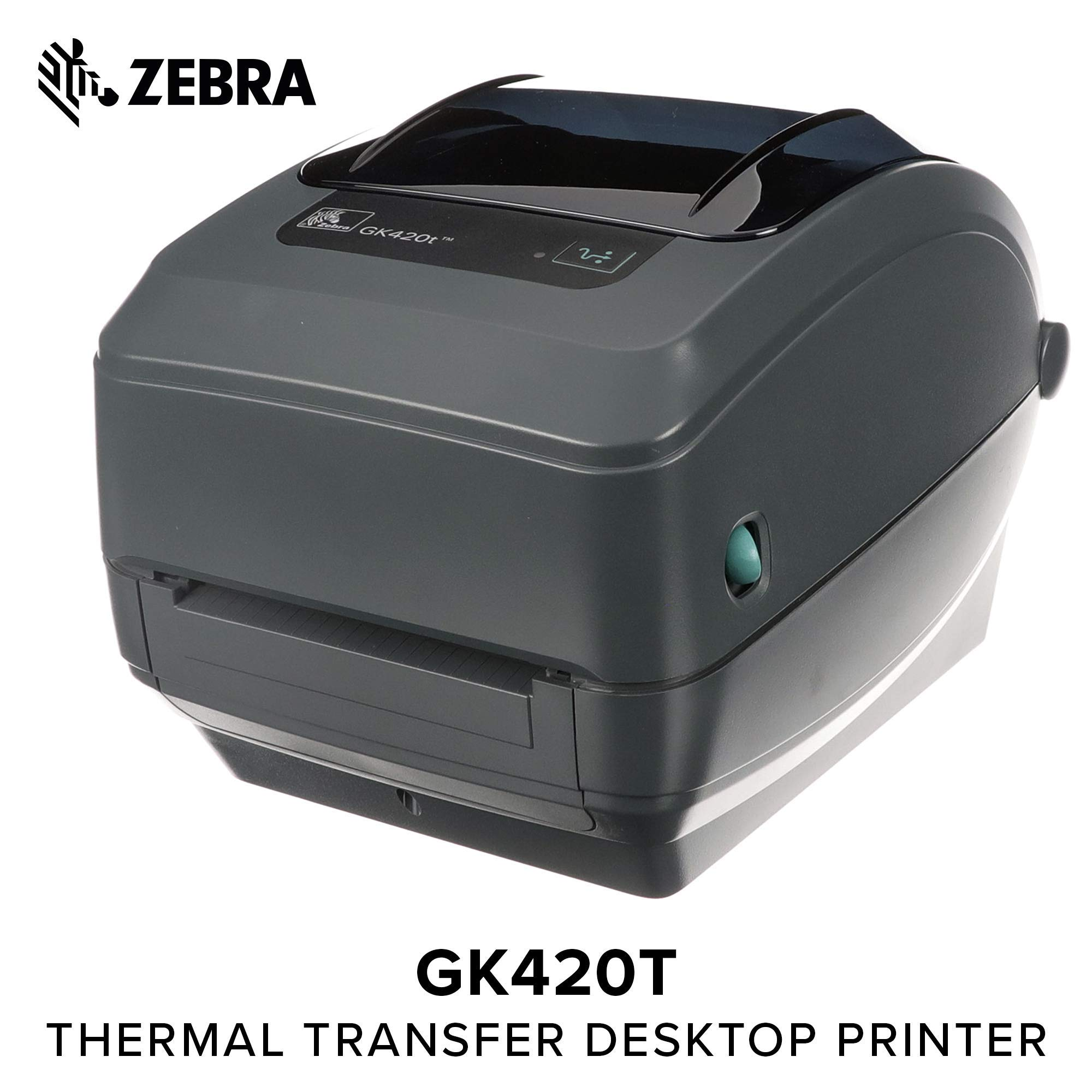 Zebra - GK420t Thermal Transfer Desktop Printer for Labels, Receipts, Barcodes, Tags, and Wrist Bands - Print Width of 4 in - USB and Ethernet Port Connectivity (Renewed)