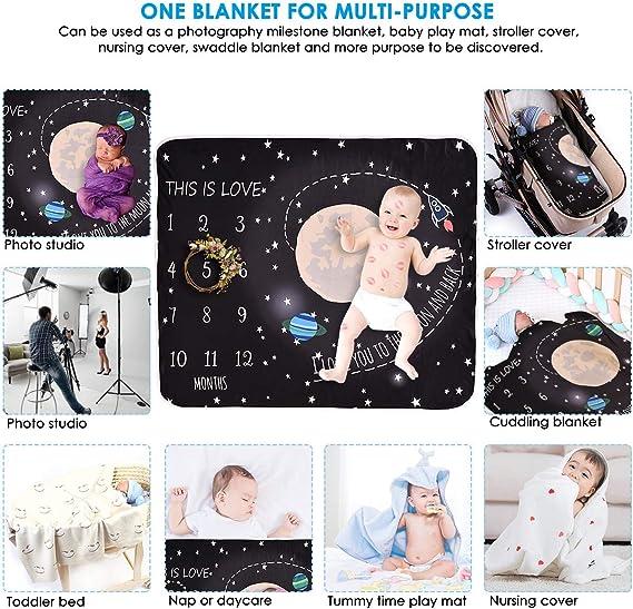Greatmtx Couverture emmaillotx unisexe pour b/éb/é 120 x 110 cm pour photographie mensuelle