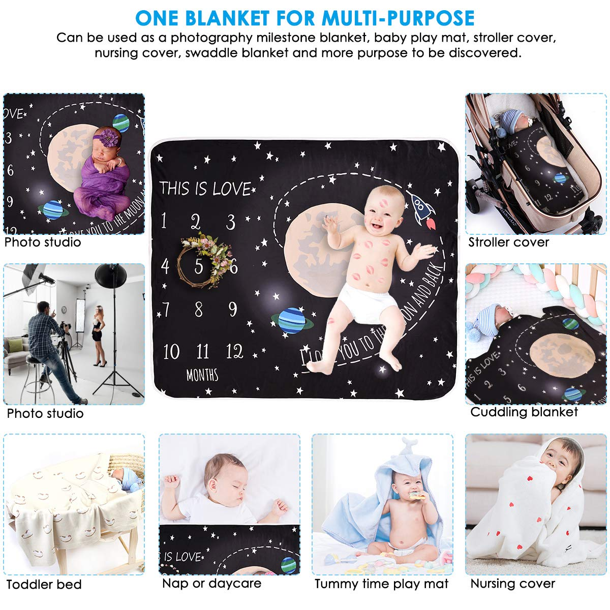Owlike Universe Print Baby Monthly Milestone Blanket Toddler Photography Blanket Swaddle Wrap