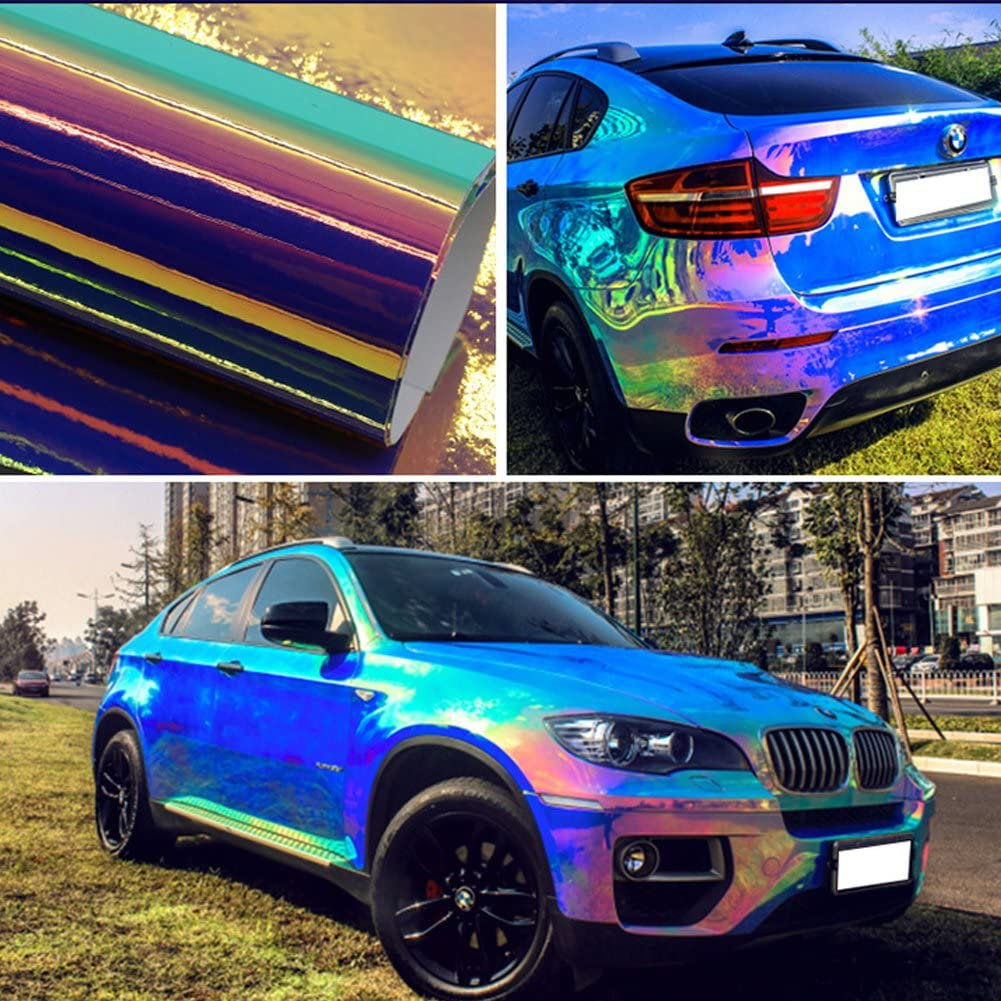 ATMOMO Laser Blue Holographic Vinyl Wrap Gloss Color DIY Air-Release Adhesive Film 53'' x 7.8''