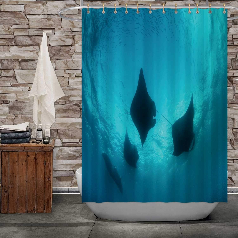 Dxichy Manta Rays and Plankton - Palau,Shower Curtain Micronesia Manta Ray Bathroom Decor Set with Hooks 72''Wx72''H