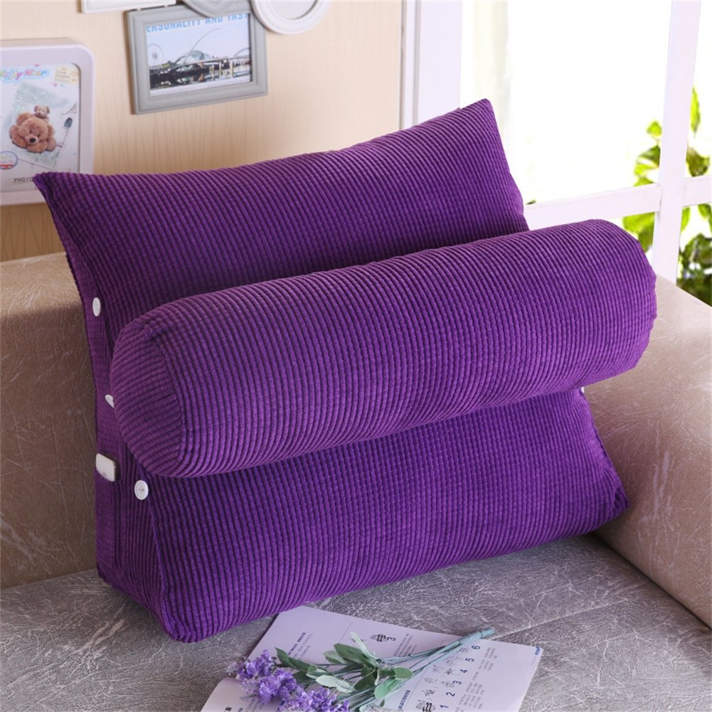 Amyove 1PCS Pillow Triangle Sofa Cushion Pillow Bed Lumbar Pad Fashion Household Decoration Pure Color Christmas Gift purple