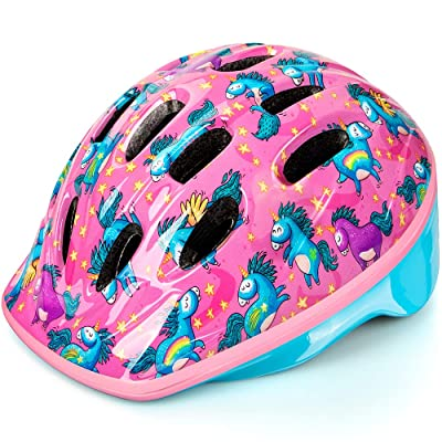 OutdoorMaster Toddler Bike Helmet - CPSC Certified Multi-sport Adjustable Helmet for Children (Age 3-5), 14 Vents Safety & Fun Print Design for Kids Skating Cycling Scooter - Unicorn : Sports & Outdoors