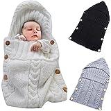 Colorful Newborn Baby Wrap Swaddle Blanket, Oenbopo Baby Kids Toddler Knit Blanket Swaddle Sleeping Bag Sleep Sack Stroller Wrap for 0-12 Month Baby (White)