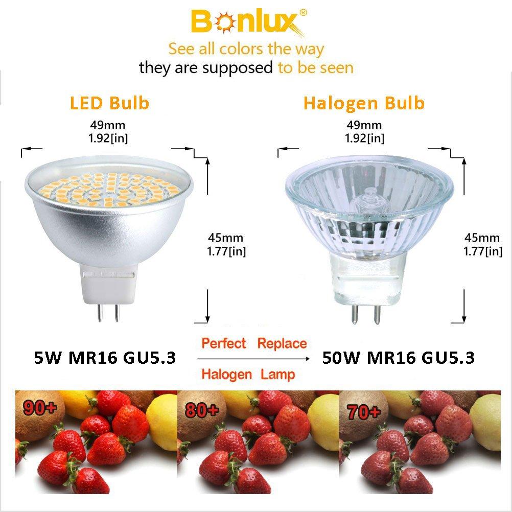 Bonlux Bombilla LED MR16 GU5.3 220V 5W con 500LM, Equivalentes a Halógenas de 50W (Blanco Frío 6000K, 4-Unidades): Amazon.es: Iluminación