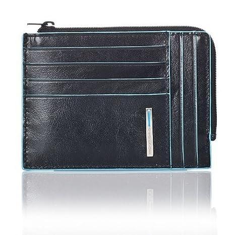 5619af0a68 PIQUADRO Blue Square Portafoglio portamonete, documenti e carte di credito  in Vera Pelle nero PU1243B2
