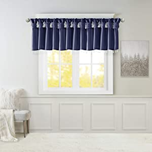 Madison Park Emilia DIY Twist Tab Top Finish Beads 1 Window Valance, 50x26, Navy