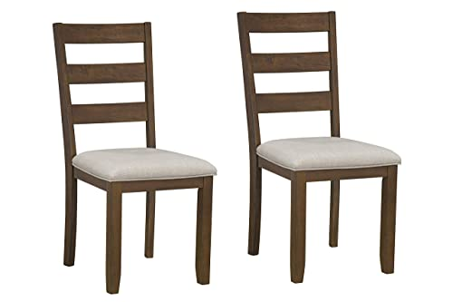 Caswell Dark Brown Upholstered Dining Chairs Set of 2