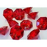 Deko - Diamanten. Größe ca 32 mm. 10 Stück. Farbe: ROT -01