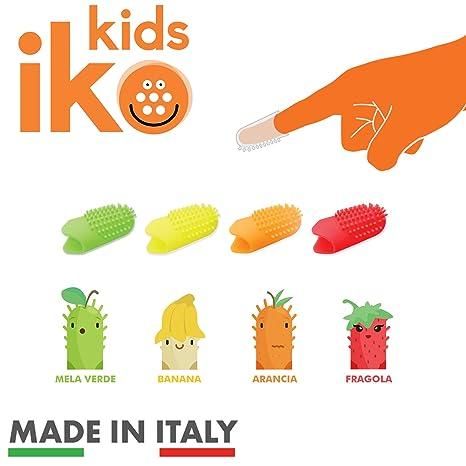 Iko Kids, kit 2pz cepillo de dientes de dedo para niños, cepillo de dientes