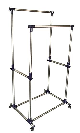 Amazing EWEIu0027S HomeWares Double Rail Adjustable Telescopic Rolling Garment Rack