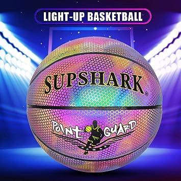 Maliyaw Baloncesto Iluminado Baloncesto Reflectante Brillante con ...