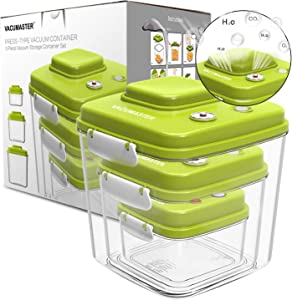 Food Storage Container Set with Vacuum Sealed Airtight Lid - Vacumaster Quick Marinator Leak Proof BPA-Free Storage Containers Great for Baby Food Pumpable Press Type Fresh Keeper (Set of 3)