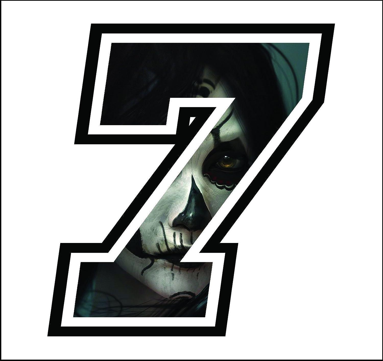 Aufkleber Zahl Anzanl Number 7 Rennen 12 Cm Zentimetern Frau Totenkopf Woman Skull Cross Spur Auto Moto Stickers Auto