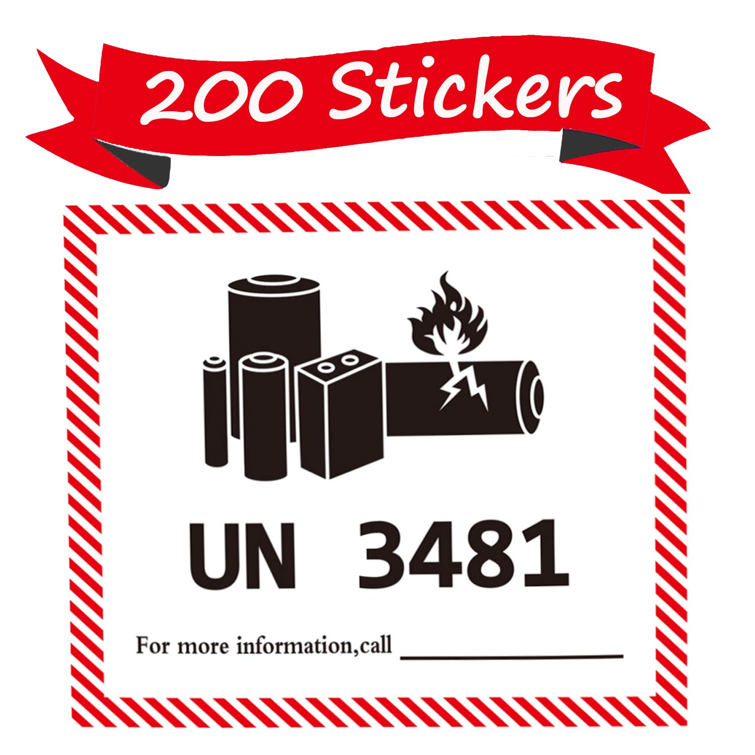UN 3481 Lithium Battery Labels 4.72 x 4.33 inch Lithium Ion Battery Transport Caution Warning Labels 200 Adhesive Stickers by Pop Resin