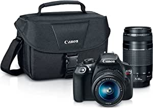 Canon Digital SLR Camera Kit [EOS Rebel T6] with EF-S 18-55mm and EF 75-300mm Zoom Lenses - Black, full-size