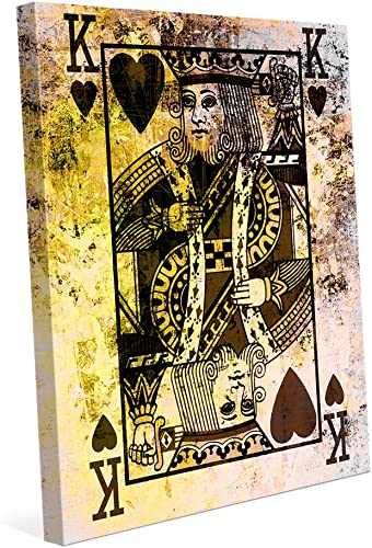 The King of Hearts: Distressed Modern Contemporary Playing Card Face Abstract