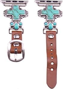44mm/42mm Compatible for Apple Watch Series 5, Series 4 Large Version, Delicate Cross Turquoise Watch Band No. 8