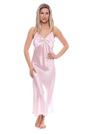 5c1439cd7f TexereSilk Women s 100% Silk Luxury Nightgown - Sleepwear Gift (Caviar  Noir