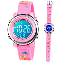Toddler Kids Digital Watches,3D Cute Cartoon 7 Color Lights Waterproof Sport Electronic Wrist Watch with Alarm Stopwatch…