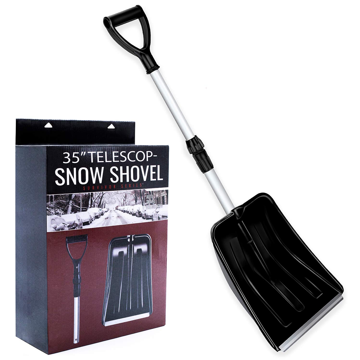 Collapsible Snow shovel, Compact Snow Shovel with Comfortable D-Grip Handle and Durable Aluminum Edge Blade, 28