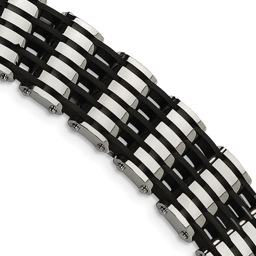 ICE CARATS Stainless Steel Black Rubber 8.5 Inch Bracelet 8.50 Men Fashion Jewelry Dad Mens Gift Set by ICE CARATS