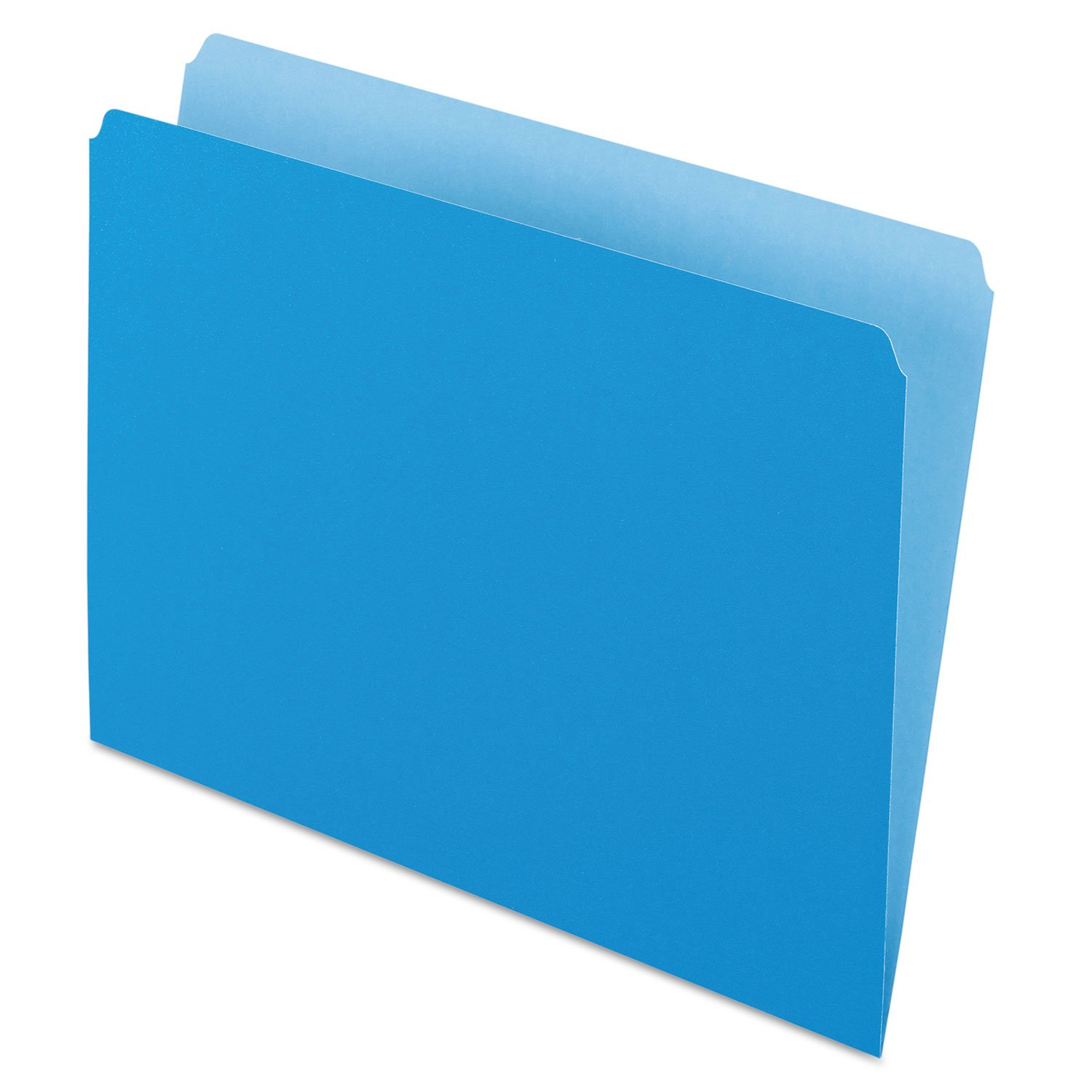 Pendaflex 152BLU Colored File Folders, Straight Cut, Top Tab, Letter, Blue/Light Blue, 100/Box