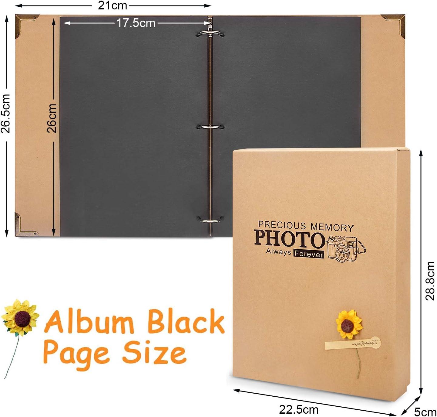 80 p/áginas en negro boda 21 x 27 cm /álbum de fotos con dobladillo vintage y libro de anillas Adkwse para beb/é /Álbum de fotos para dise/ñar t/ú mismo con caja de regalo familia