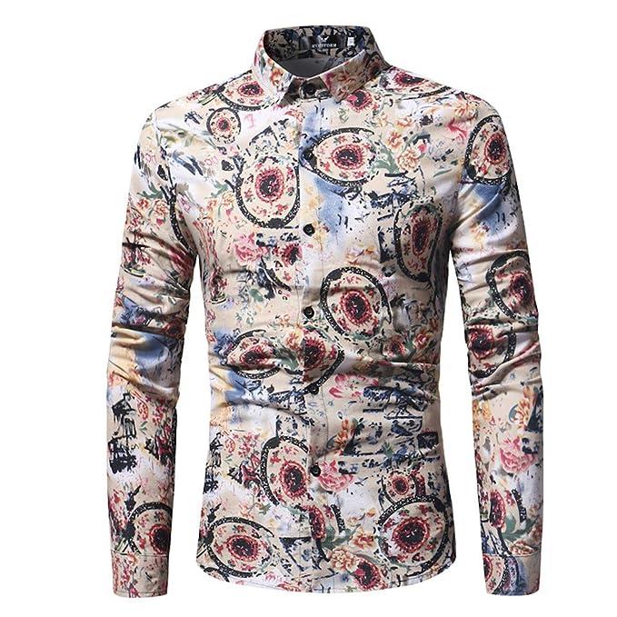 Blusa Estampada de Moda para Hombre Camisas de Manga Larga Casual Slim Tops por Internet.: Amazon.es: Ropa y accesorios