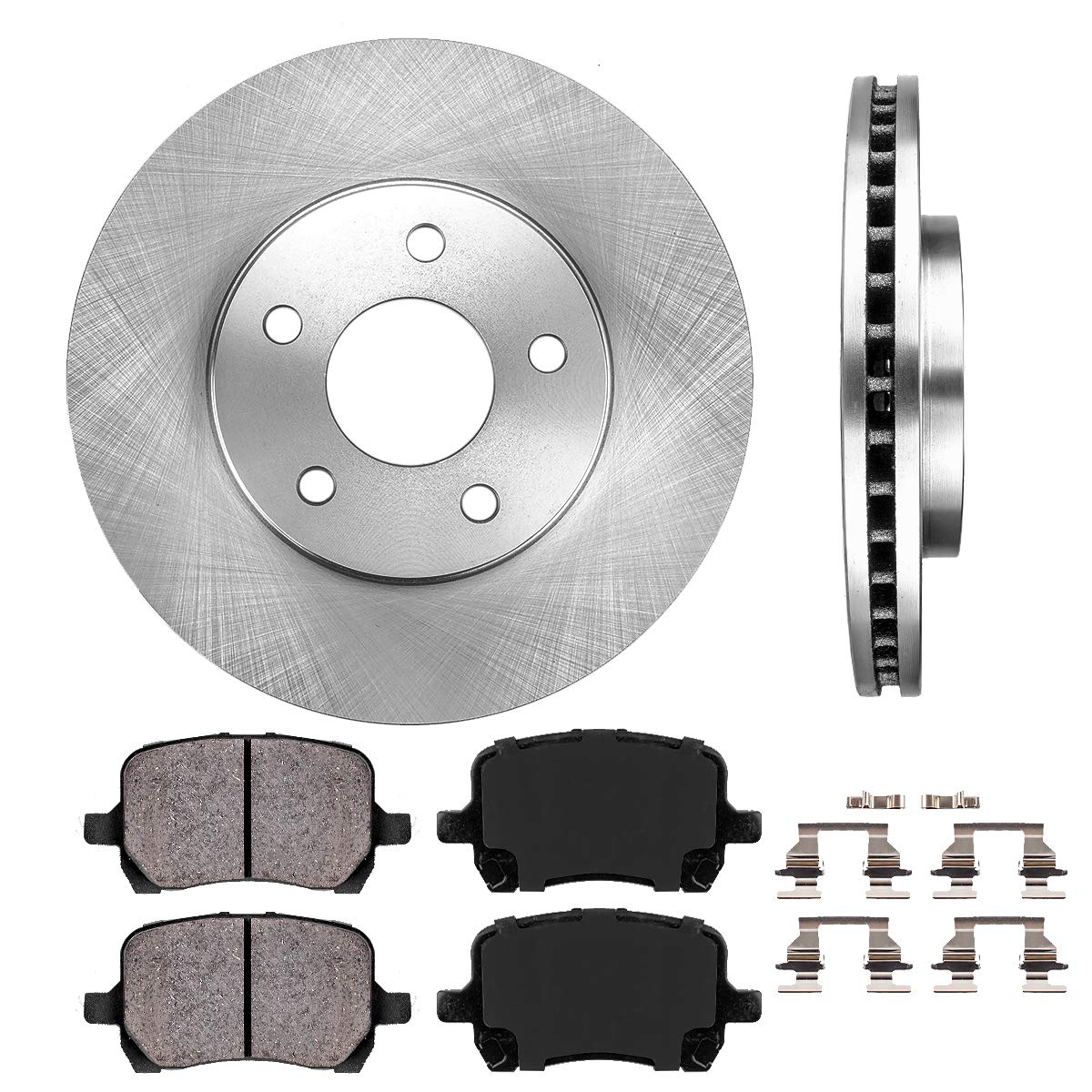 FRONT 276 mm Premium OE 5 Lug [2] Brake Disc Rotors + [4] Ceramic Brake Pads + Clips