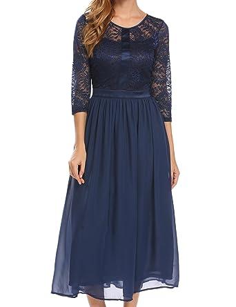 9250a2be3c Acevog Women's Vintage Swing Dress 1950s Floral Lace Patchwork Dress  Elegant Cocktail Dress(Dark Blue